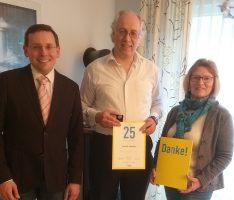 25 Jahre treue Mitgliedschaft: </br>FDP Leimen gratuliert Heinz E. Bräunle